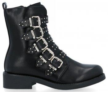 Czarne modne botki damskie z klamrami Mia