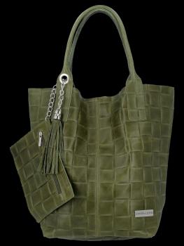 Modne Torebki Skórzane Shopper Bag XL z Etui firmy Vittoria Gotti Khaki