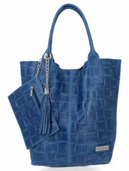 Modne Torebki Skórzane Shopper Bag XL z Etui firmy Vittoria Gotti Jeans