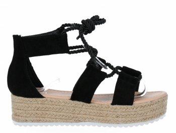 Czarne sandały damskie espadryle na platformie firmy Givana