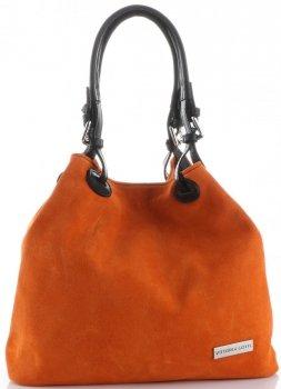 Vittoria Gotti Uniwersalne Torebki Skórzane Na co dzień Zamsz Naturalny wysokiej jakości Pomarańczowa