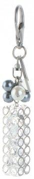 Brelok do torebki Glamour Tube z kryształami Srebrny