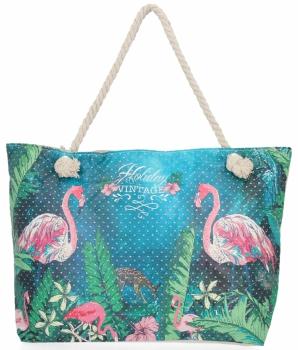 Ażurowana Torba Damska idealna na lato wzór flaminga Zielona