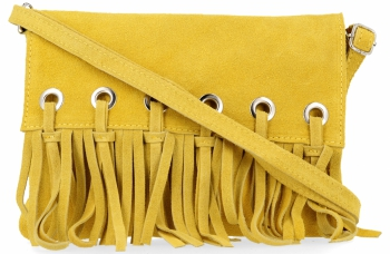 Vittoria Gotti Made in Italy Rewelacyjna Listonoszka Skórzana w stylu Boho Żółta