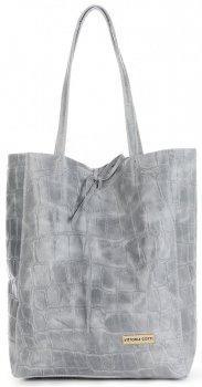 Vittoria Gotti Włoski Shopper XL Uniwersalna Torba Skórzana do noszenia na co dzień z modnym motywem Żółwia Jasno Szara