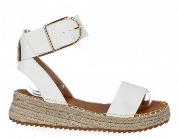 Białe sandały damskie espadryle na platformie firmy Lady Glory