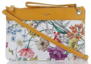 Firmowe Listonoszki Damskie we wzór kwiatów marki David Jones Multikolor Żółta