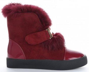 Modne i Eleganckie Sneakersy Damskie Śniegowce firmy Sergio Todzi Bordowe
