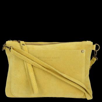 Vittoria Gotti Praktyczna Firmowa Listonoszka Skórzana / Kopertówka Made in Italy Żółta