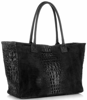 Duża Torba Skórzana z motywem Aligatora firmy Genuine Leather Czarna