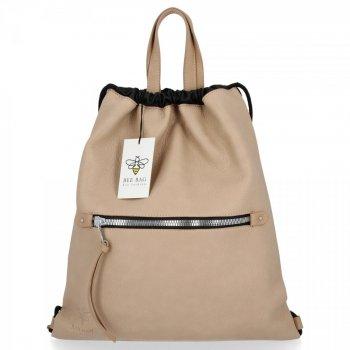 BEE BAG Torebka Damska Worek typu Shopper Bag Beatrice Ciemno Beżowa