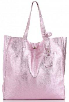 Torba Skórzana Shopper Bag z Kosmetyczką Iron Różowa