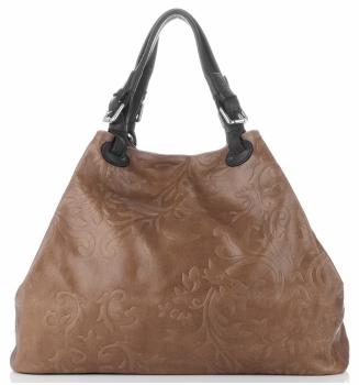 Włoska Torba Skórzana Duży Shopper z tłoczeniami firmy Genuine Leather Ziemista