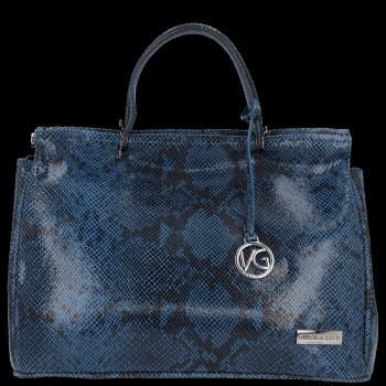 Ekskluzywny firmowy Kufer Skórzany Vittoria Gotti Made in Italy Niebieski
