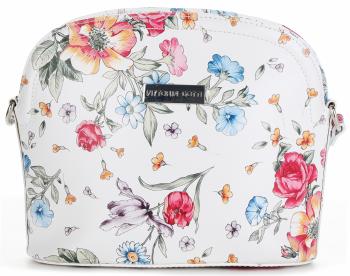 Vittoria Gotti Włoska Listonoszka Skórzana w modny wzór Kwiatów Biała Floral
