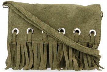 Vittoria Gotti Made in Italy Rewelacyjna Listonoszka Skórzana w stylu Boho Zielona