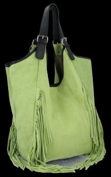 Modne Torebki Skórzane Shopper Bag z Frędzlami firmy Vittoria Gotti Jasno Zielona