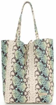 Vittoria Gotti Made in Italy Modny Shopper XL z motywem węża Jasny Turkus