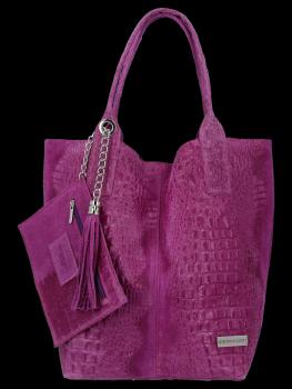 Włoskie Torebki Skórzane Shopper Bag w motyw aligatora firmy Vittoria Gotti Fioletowa