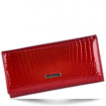 Elegancki Skórzany Portfel Damski XL w motyw aligatora Lorenti Czerwony