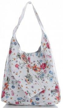 Torebka Skórzana firmy Vittoria Gotti Uniwersalny Włoski Shopper w modne wzory Kwiatów Biała