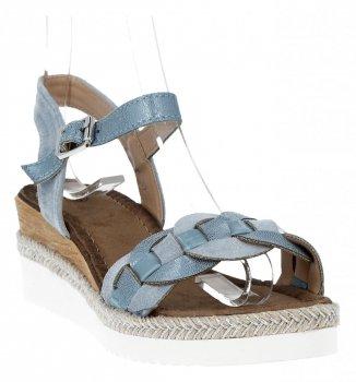 Niebieskie modne sandały damskie na koturnie firmy Lady Glory