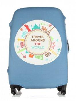 Pokrowiec na Walizkę firmy Snowball w rozmiarze M Travel around the world Niebieski