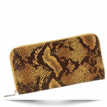Ekskluzywne Portfele Damskie XL w motyw węża firmy Diana&Co Musztarda
