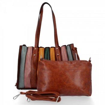 Modna Torebka Damska Shopper Bag z listonoszką firmy David Jones Brązowa