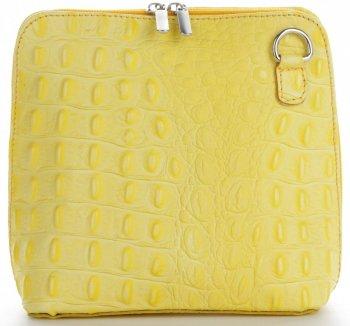 Włoska Torebka Skórzana Listonoszka firmy Genuine Leather we wzór Krokodyla Limonkowa