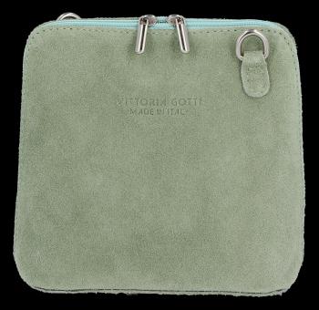 Małe Torebki Skórzane Listonoszki Vittoria Gotti wykonane w całości z Zamszu Naturalnego Jasno Zielona