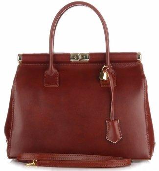 Duży Włoski Kufer ze Skóry Licowej Genuine Leather Brąz