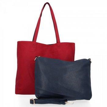 BEE BAG Torebki Damskie 2 w 1 Shopper z Listonoszką Grace Czerwona/Granat