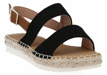 Czarne sandały damskie espadryle firmy Bellucci