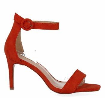 Pomarańczowe sandały damskie na obcasie firmy Bellucci