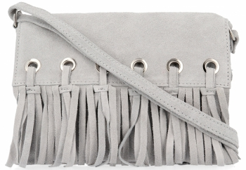Vittoria Gotti Made in Italy Rewelacyjna Listonoszka Skórzana w stylu Boho Jasno Szara