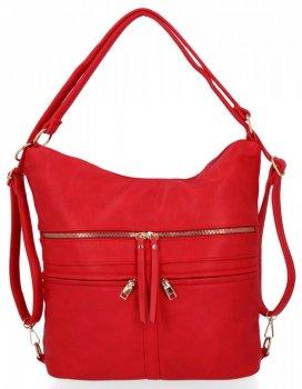 Uniwersalne Torebki Damskie XL z funkcją plecaczka firmy Herisson Czerwona