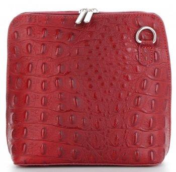 Włoska Torebka Skórzana Listonoszka firmy Genuine Leather we wzór Krokodyla Bordowa