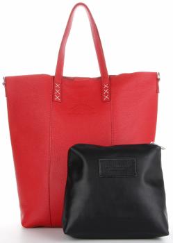 Vittoria Gotti Firmowy Shopper Made in Italy z Kosmetyczką Czerwony