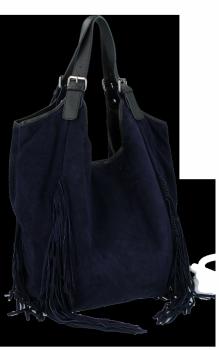 Modne Torebki Skórzane Shopper Bag z Frędzlami firmy Vittoria Gotti Granat