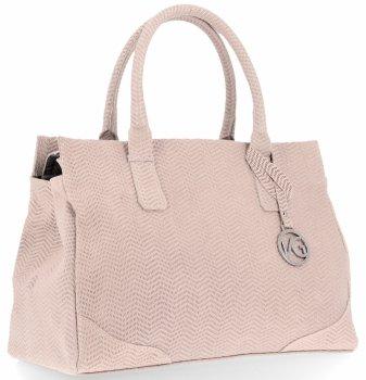 Vittoria Gotti Made in Italy Elegancki Firmowy Kuferek Skórzany Pudrowy Róż
