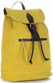 Vittoria Gotti Skórzany Plecak Damski Made in Italy Żółty