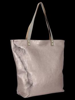 Modne Torebki Skórzane Włoski Shopper Bag firmy Vittoria Gotti Brązowa
