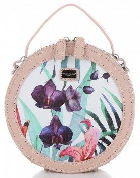 Okrągłe Torebki Listonoszki w Tropikalne wzory firmy David Jones Multikolor Pudrowy Róż