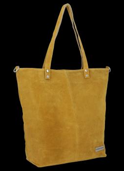 Uniwersalna Torebka Skórzana Shopper Bag firmy Vittoria Gotti Musztarda