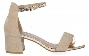Beżowe sandały damskie na obcasie firmy Lady Glory