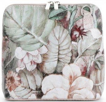 Torebka Skórzana firmy Vittoria Gotti Mała Włoska Listonoszka w modne wzory Kwiatów Pudrowy Róż