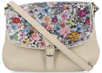 Vittoria Gotti Modna Listonoszka Skórzana we wzór Kwiatów Beżowa