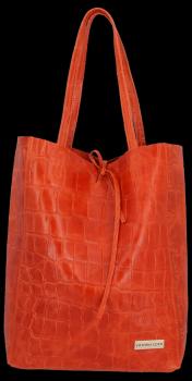 Vittoria Gotti Włoski Shopper XL Uniwersalna Torba Skórzana do noszenia na co dzień z modnym motywem Żółwia Pomarańczowa