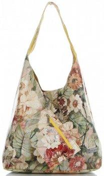 Torebka Skórzana firmy Vittoria Gotti Uniwersalny Włoski Shopper w modne wzory Kwiatów Żółta